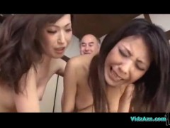 Asian girl fucked by 2 guys cum to tits facial on the bed