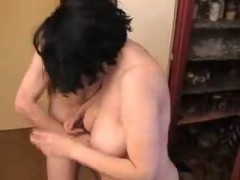Russian Son Fucks black haired hairy mom