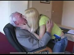 Young blonde swallow old cum