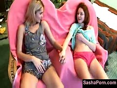 Sasha blonde and her teen girlfriend are lazy and slowly tou