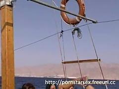 Pornstars fuck on a boat
