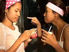 Saori and Saya Thai teens lick ice-cream titty thaigirltia.com