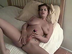 Big titty plays with her pussy and let him put in