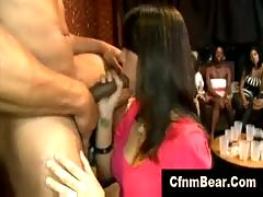 Cfnm stripper cums in mouth of brunette cfnm fanatic