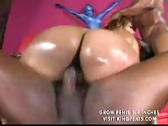 Latina oiled and fucked by 2 men part2