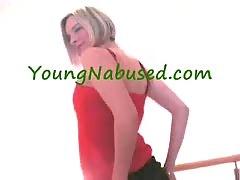Short Haired Blonde Stripping