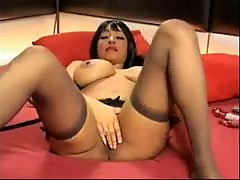 British Busty MILF Charmaine Sinclair fucks herself