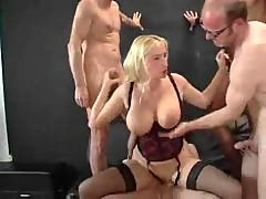 German Pornstar Kathleen White takes 4 Cocks!