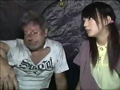 Japanese girl having sex with homeless guy