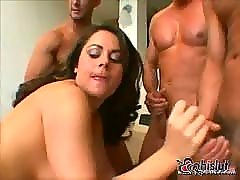 Wild horny milf invite 4 guys to her room