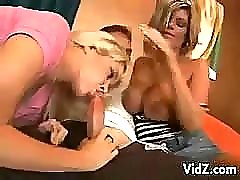 Teen and milf blondes share a cock