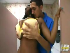 Big Tits Black Lady Bathroom Fuck