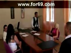 From Boring Meeting to Hot Office Pounding Group Sex Video