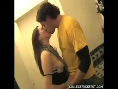 College Party Girl Gives Lucky Guy a Blowjob