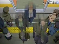 Horny chick let stranger fucks her in train