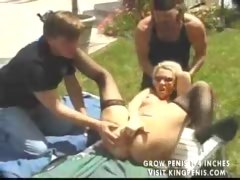 Hot blond whore threesome