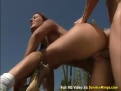 Petite brunette gets fucked in the desert