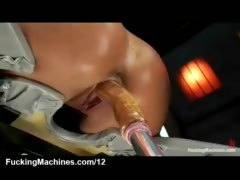 Babe machine fucked in reverse position